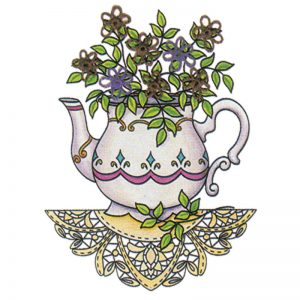 Designer Greeting Cards - TK09 - Tea Time Bouquet