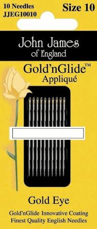 John James Gold n Glide Applique Needles, Size 10