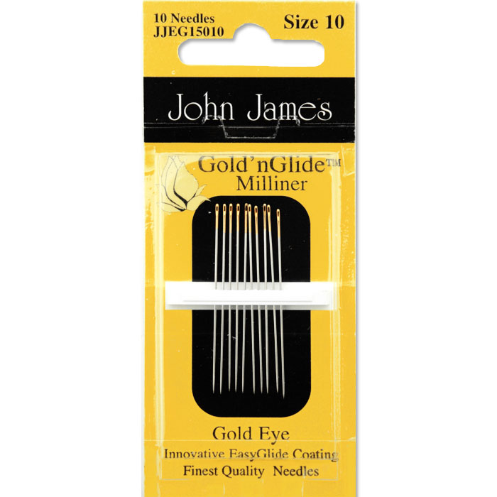 John James Gold n Glide Milliner Needles, Size 10
