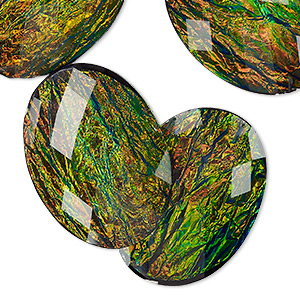 Cabochons - 30 x 40mm Black Opalescent Resin
