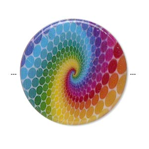 Rainbow Acrylic Flat Bead, 32mm