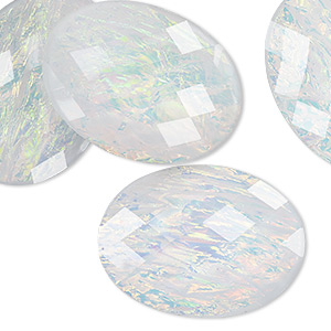 Cabochons - 30 x 40mm White Opalescent Resin