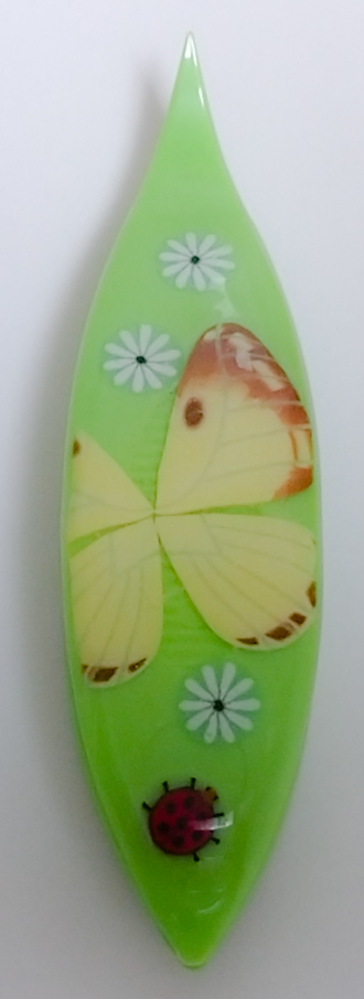 Japanese Tatting Shuttle - Colias Erate Butterfly on Green