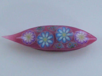 Japanese Tatting Shuttle - Blue & Pink Daisies