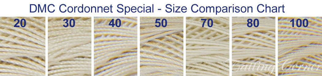 Crochet Thread Sizes : ... side-by-side comparison of the range of DMC Cordonnet thread sizes